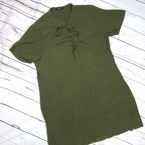 Madewell Olive Green Viscose Lace Front Mini Dress